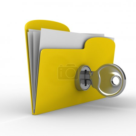 Yellow computer folder with key