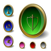 Stylized medieval jewels as buttons or icons for your website