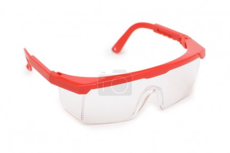 Red safety glasses isolated