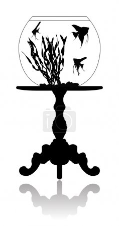 Illustration for Round aquarium with small fishes (scalare), standing on an antiquarian coffee table. - Royalty Free Image