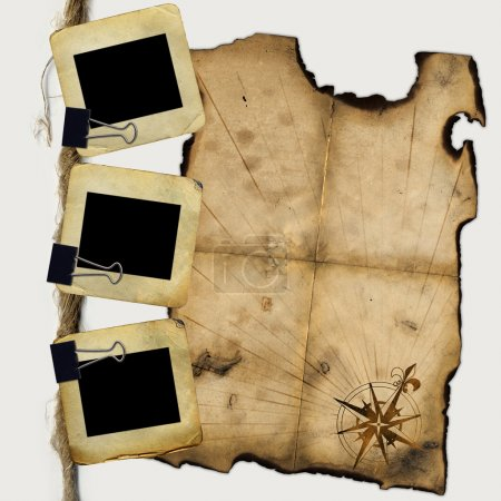 Photo pour Diapositives pour photo avec blank de pirates carte - image libre de droit