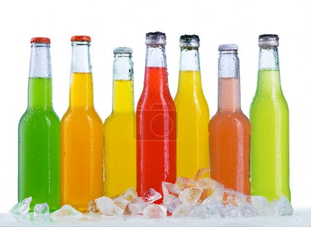 Close up view of the bottles
