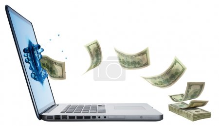 Photo for Money jumping from Laptop isolated on white background - Royalty Free Image