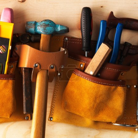 Photo for Different Tools on a wooden background - Royalty Free Image
