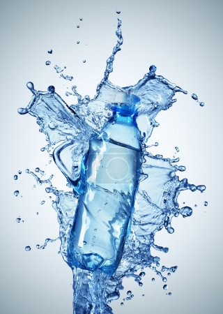 Photo for Bottle with pure water and splash around it - Royalty Free Image