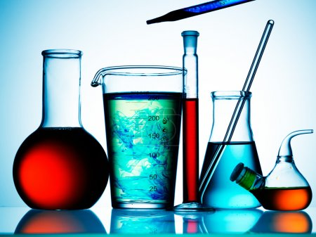Photo for Assorted laboratory glassware equipment ready for an experiment in a science research lab - Royalty Free Image