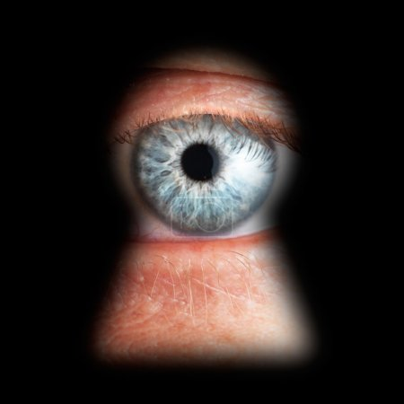 Eye in keyhole, isolated