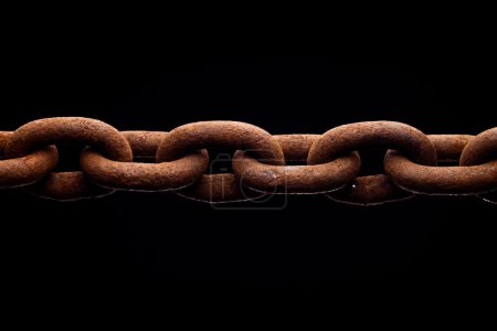 Photo for Macro of rusty chain isolated on black background - Royalty Free Image
