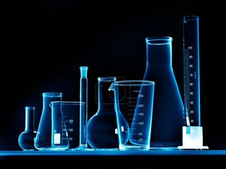 Photo for Flask with chemicals and test tubes - Royalty Free Image