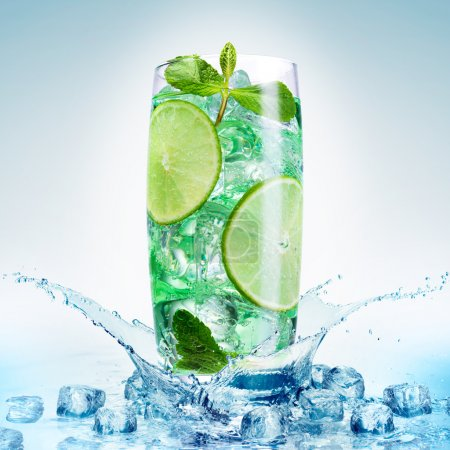 Photo for Fresh mojito isolated on white background. - Royalty Free Image