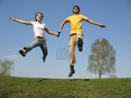 Jumping couple. spring...