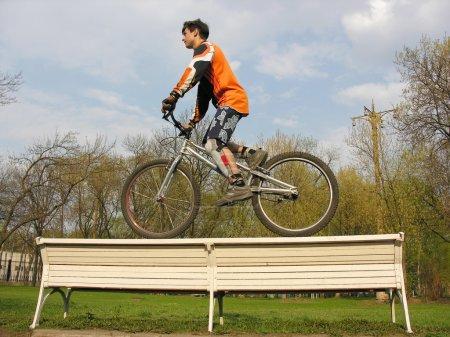 Biker on bench 2