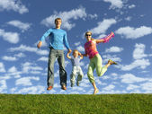 Fly šťastná rodina na modrou oblohu s mraky