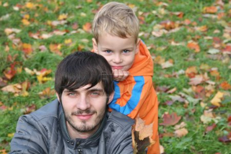 Autumn child with father