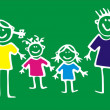 Happy Family on green background...