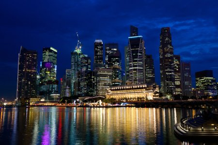 Photo for Singapore city skyline at night - Royalty Free Image