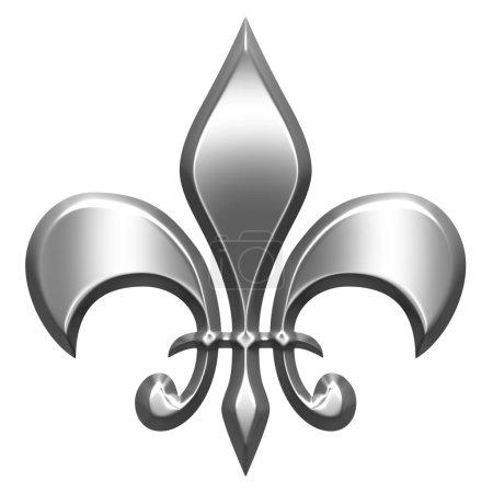 3D Silver Fleur de Lis