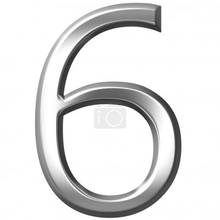 3D Silver Number 7