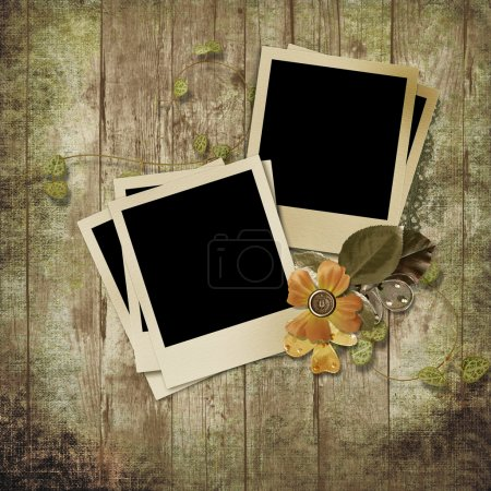 Wooden background with polaroid frames