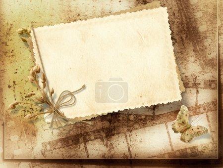 Foto de Fondo tira vendimia con tarjeta para tu foto, felicitaciones y saludos - Imagen libre de derechos