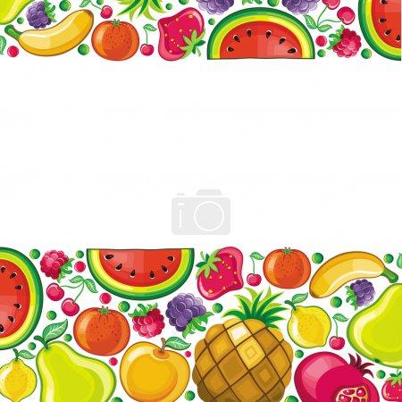 Illustration pour Différents types de fruits délicieux combinés dans le cadre. Avec de l'espace pour votre texte - image libre de droit