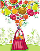 Shopping bag with fruit splash