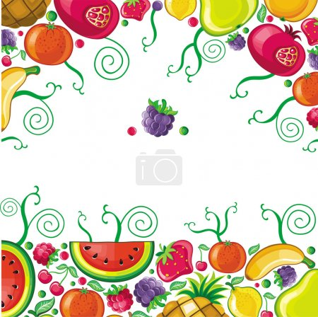 Fruits combined in frame