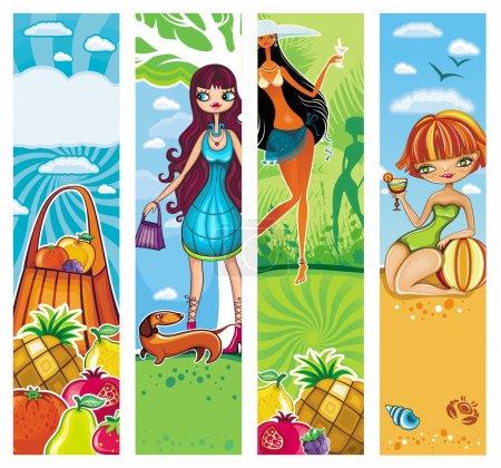 Illustration pour Ensemble de bannières de vacances vectorielles. avec de l'espace pour votre texte. séries florales - image libre de droit