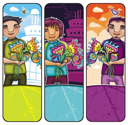 Boys with flowers banners