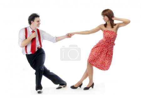 Photo pour Couple de danseurs isolés sur blanc . - image libre de droit