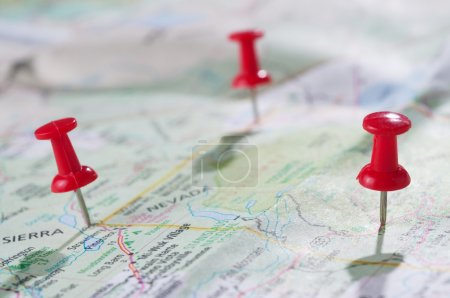 Photo for Travel concept with red pushpin - Royalty Free Image