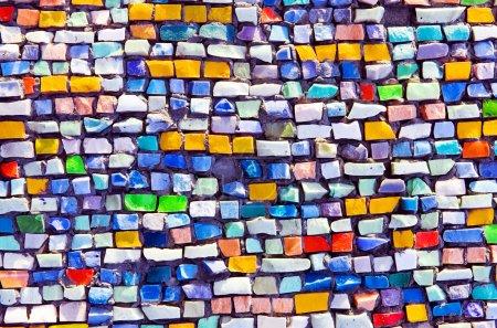 horizontal colorful mosaic texture on wall