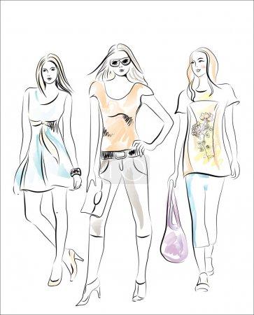 Illustration for Fashion girls - Royalty Free Image