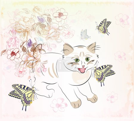 Kitten and butterflies