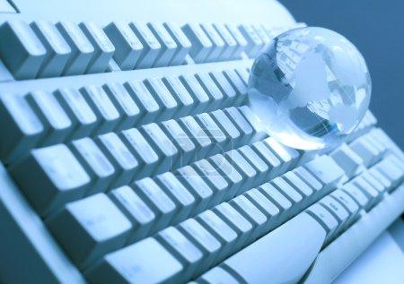 The glass globe on the keyboard