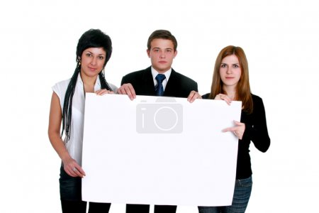 Business men and women holding a big blank sign