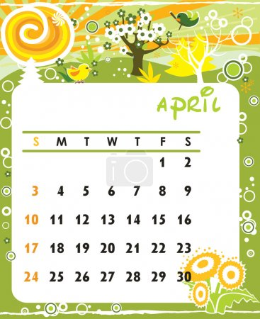 Illustration for Beautiful vector decorative Frame for calendar - April - Royalty Free Image