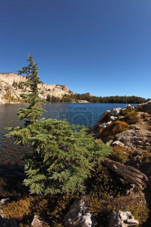 Stony coast of lake in mountains