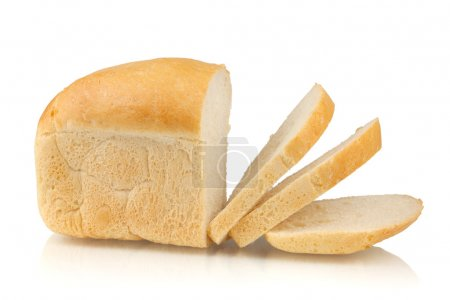 Photo for Sliced white bread. Isolated on white background - Royalty Free Image