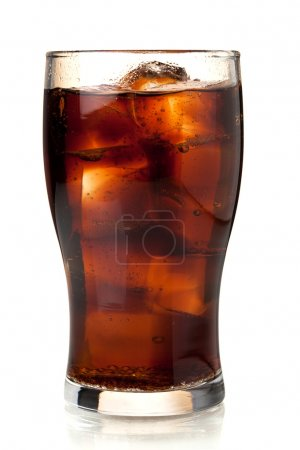 Photo for Glass of cola with ice. Isolated on white background - Royalty Free Image