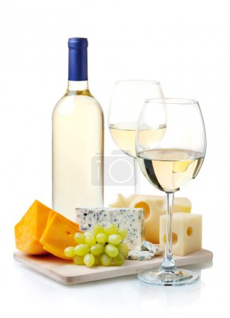 Photo for White wine, cheese and grapes. Isolated on white - Royalty Free Image