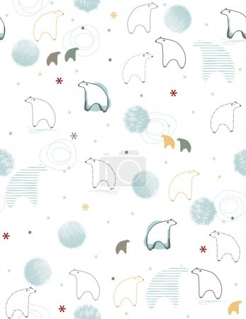 Illustration for Vector seamless pattern displaying a cute baby bear. - Royalty Free Image