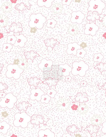 Illustration for Vector seamless pattern displaying baby sheep and flowers. - Royalty Free Image
