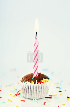 Photo for Single cupcake with sprinkles and candle - Royalty Free Image