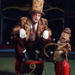 Circus clown with a monkey. Photo....