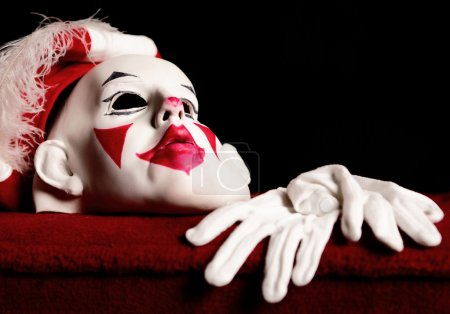 Drama white-red mask of actor and pair white gloves