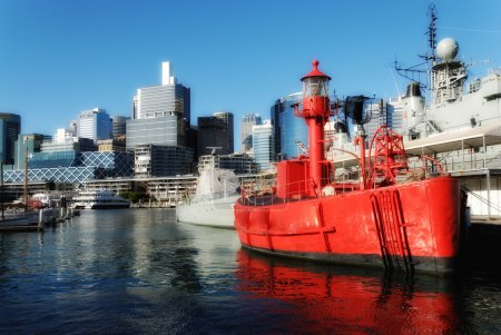 Red Ship in Sydney Harbour, Australia