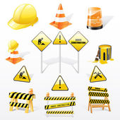 Vector set of under construction elements over white