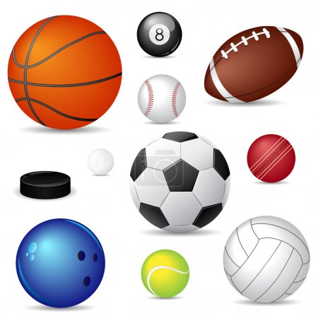 Photo for Vector illustration of sport balls over white - Royalty Free Image