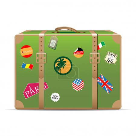 Illustration for Vintage suitcase with travel stickers isolated on white. Vector illustration - Royalty Free Image